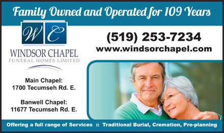 Windsor Chapel Funeral Home Ltd (519-253-7234) - Display Ad