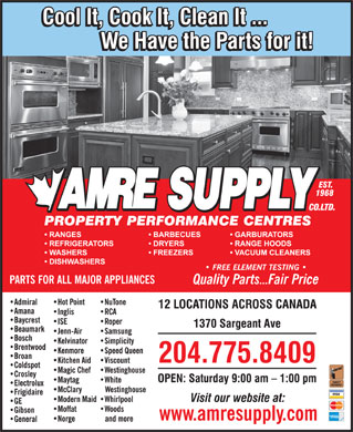 Amre Supply Co Ltd (204-775-8409) - Annonce illustrée