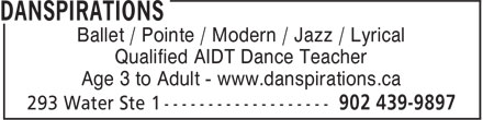 Danspirations (902-439-9897) - Display Ad - Ballet / Pointe / Modern / Jazz / Lyrical Qualified AIDT Dance Teacher Age 3 to Adult - www.danspirations.ca Qualified AIDT Dance Teacher Age 3 to Adult - www.danspirations.ca Ballet / Pointe / Modern / Jazz / Lyrical
