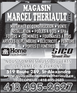 Magasin marcel th riault 519 route 289 saint alexandre for Fenetre theriault