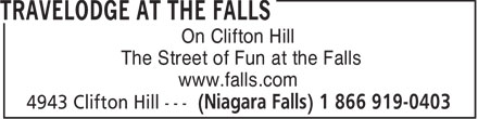 "Honeymoon City Motel (1-866-919-0403) - Display Ad - ""The Street of Fun at the Falls"" On Clifton Hill On Clifton Hill ""The Street of Fun at the Falls"" www.falls.com www.falls.com"