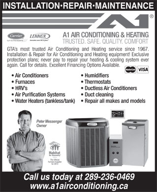 A1 Air Conditioning & Heating (416-657-4173) - Display Ad - Call us today at 289-236-0469 www.a1airconditioning.ca