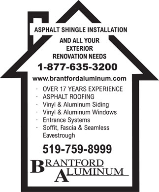 Brantford Aluminum (519-759-8999) - Display Ad