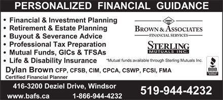Brown & Associates Financial Services (519-944-4232) - Annonce illustrée - Certified Financial Planner Certified Financial Planner