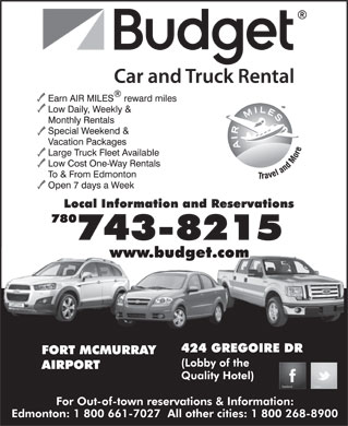 Budget Car & Truck Rentals (780-743-8216) - Display Ad