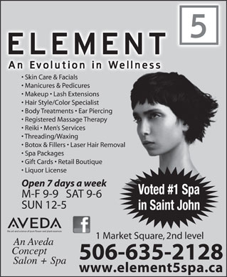 Element 5 Day Spa (1-855-224-8890) - Display Ad - 506-635-2128