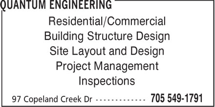 Quantum Engineering (705-549-1791) - Annonce illustrée - Residential/Commercial Building Structure Design Site Layout and Design Project Management Inspections
