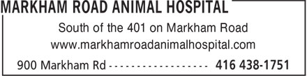 Markham Road Animal Hospital (647-494-3597) - Annonce illustrée - South of the 401 on Markham Road www.markhamroadanimalhospital.com South of the 401 on Markham Road www.markhamroadanimalhospital.com