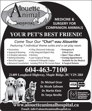 Alouette Animal Hospital Ltd (604-466-7630) - Annonce illustrée