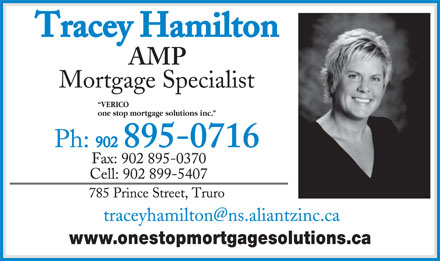 Tracey Hamilton (902-895-0716) - Annonce illustrée - one stop mortgage solutions inc. www.onestopmortgagesolutions.ca VERICO