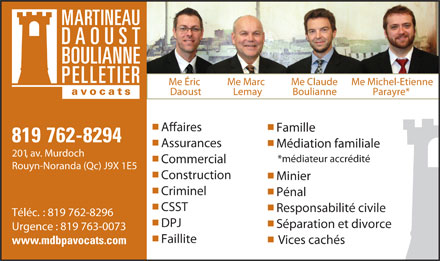 Martineau Daoust Boulianne Pelletier Avocats (819-762-8294) - Display Ad
