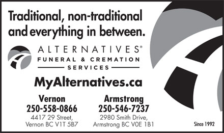 Alternatives Funeral & Cremation Services (250-558-0866) - Annonce illustrée