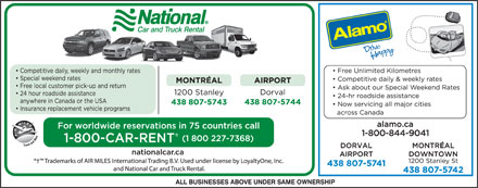 National Car and Truck Rental (1-800-227-7368) - Annonce illustrée
