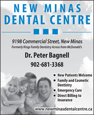 New Minas Dental Centre (1-877-220-7476) - Annonce illustrée