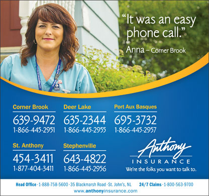 Anthony Insurance Inc (709-639-9472) - Annonce illustrée