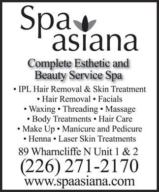 Spa Asiana Inc (519-936-1822) - Display Ad
