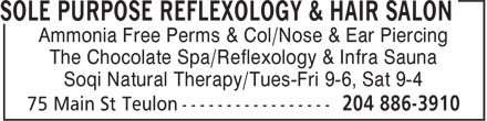 Sole Purpose Reflexology & Hair Salon (204-886-3910) - Annonce illustrée - Ammonia Free Perms & Col/Nose & Ear Piercing The Chocolate Spa/Reflexology & Infra Sauna Soqi Natural Therapy/Tues-Fri 9-6, Sat 9-4