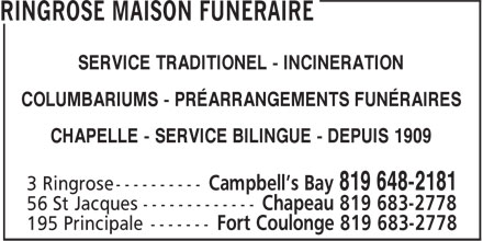 Ringrose Brothers Funeral Home (819-648-2181) - Annonce illustrée - TRADITIONAL - CREMATIONS - COLUMBARIUMS PRE-PLANNING - CHAPEL SERVICES BILINGUAL SERVICES - EST SINCE 1909