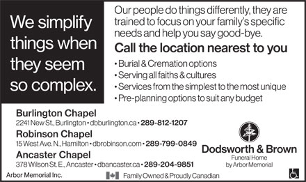 Dodsworth & Brown Funeral Home (289-812-1207) - Annonce illustrée