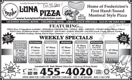 Luna Pizza 1990 Ltd (506-455-4020) - Display Ad