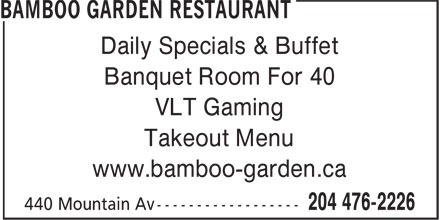Bamboo Garden Restaurant (204-476-2226) - Annonce illustrée - Daily Specials & Buffet Banquet Room For 40 VLT Gaming Takeout Menu www.bamboo-garden.ca
