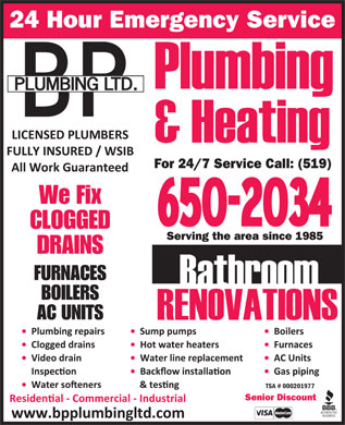 BP Plumbing (226-444-6936) - Annonce illustrée - 24 Hour Emergency Service We Fix CLOGGED Serving the area since 1985 DRAINS FURNACES BOILERS AC UNITS TSA # 000201977 For 24/7 Service Call: (519) Senior Discount