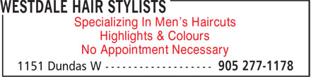 Westdale Hair Stylists (905-277-1178) - Annonce illustrée - Specializing In Men's Haircuts Highlights & Colours No Appointment Necessary