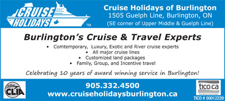 Cruise Holidays Of Burlington (289-348-0963) - Annonce illustrée - Burlington s Cruise & Travel Experts
