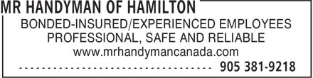 Mr Handyman of Hamilton (905-381-9218) - Annonce illustrée - BONDED-INSURED/EXPERIENCED EMPLOYEES PROFESSIONAL, SAFE AND RELIABLE www.mrhandymancanada.com