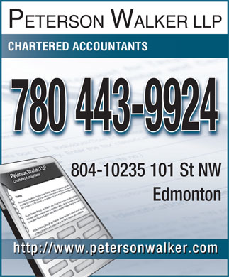 Peterson Walker LLP (780-443-9846) - Annonce illustrée - Edmonton http://www.petersonwalker.com PETERSON WALKER LLP CHARTERED ACCOUNTANTS 780 443-9924 804-10235 101 St NW804-