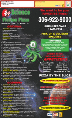 Science Fiction Pizza (306-922-9000) - Menu