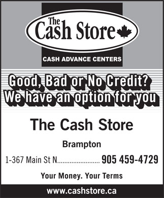 The Cash Store (905-459-4729) - Display Ad