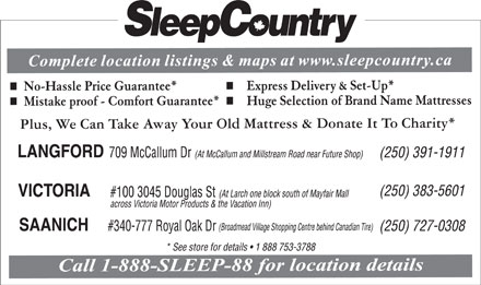 Sleep Country Canada (250-383-5601) - Display Ad