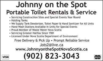 Johnny On The Spot (902-823-3043) - Display Ad