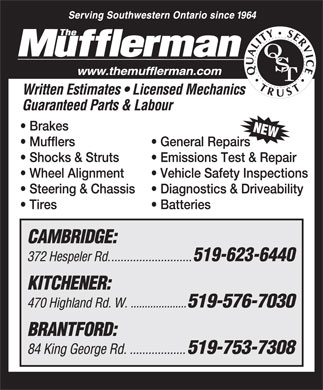 The Mufflerman (519-623-6440) - Display Ad
