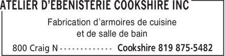 Atelier D'Ebénisterie Cookshire Inc (819-875-5482) - Annonce illustrée======= - Fabrication d'armoires de cuisine - et de salle de bain